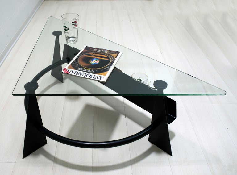 Modern and Contemporary Italian Coffee Table Blackened Metal and Glass Top, 1990 For Sale 2
