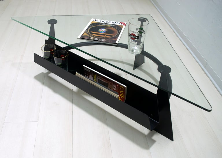 Modern and Contemporary Italian Coffee Table Blackened Metal and Glass Top, 1990 For Sale 3