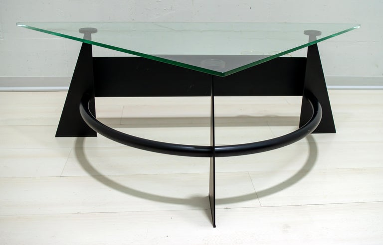 Modern and Contemporary Italian Coffee Table Blackened Metal and Glass Top, 1990 For Sale 5