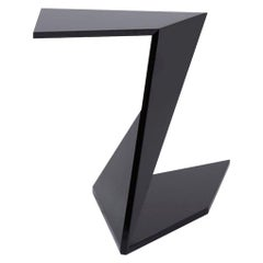 Modern and Futuristic C-Shaped Side Table with Handcrafted Wood