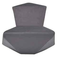 Modern and Futuristic Spazio Lounge Chair, Wood Frame Covered Luxury Gray Fabric