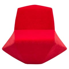Modern and Futuristic Spazio Lounge Chair, Wood Frame Covered Luxury Red Fabric