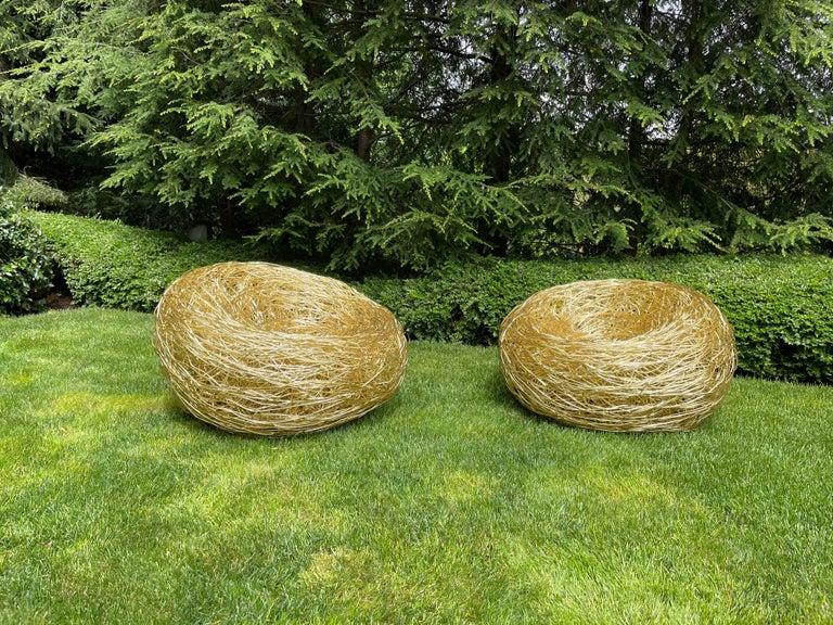 Modern Andrea Salvetti for Dilmos Armchair Gold Aluminium Cast Indoor Outdoor For Sale 4