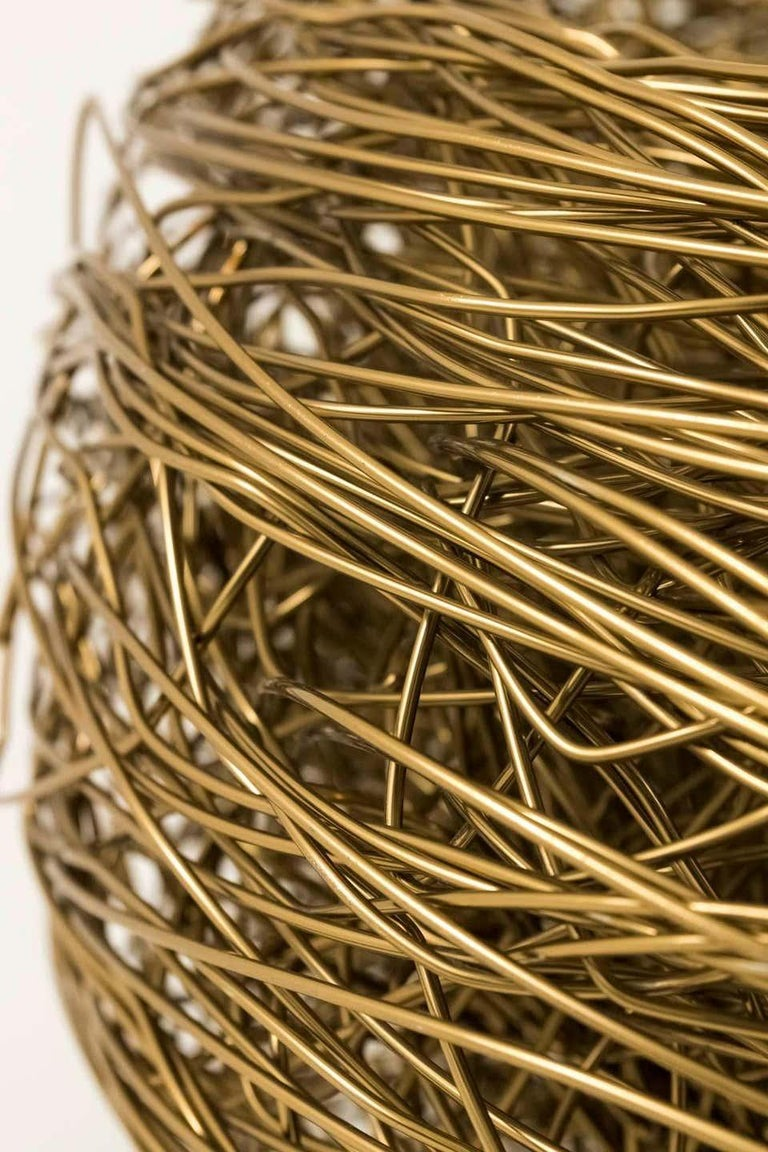 Contemporary Modern Andrea Salvetti for Dilmos Armchair Gold Aluminium Cast Indoor Outdoor For Sale