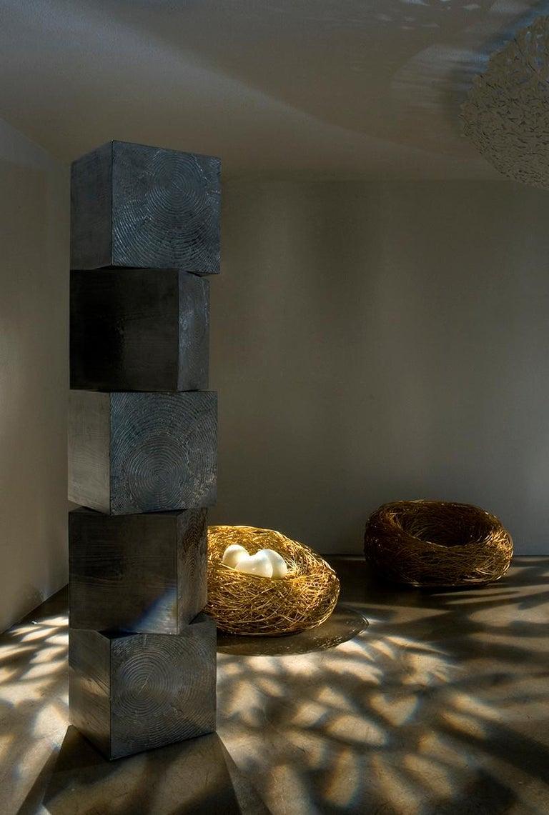 Modern Andrea Salvetti for Dilmos Armchair Gold Aluminium Cast Indoor Outdoor For Sale 1