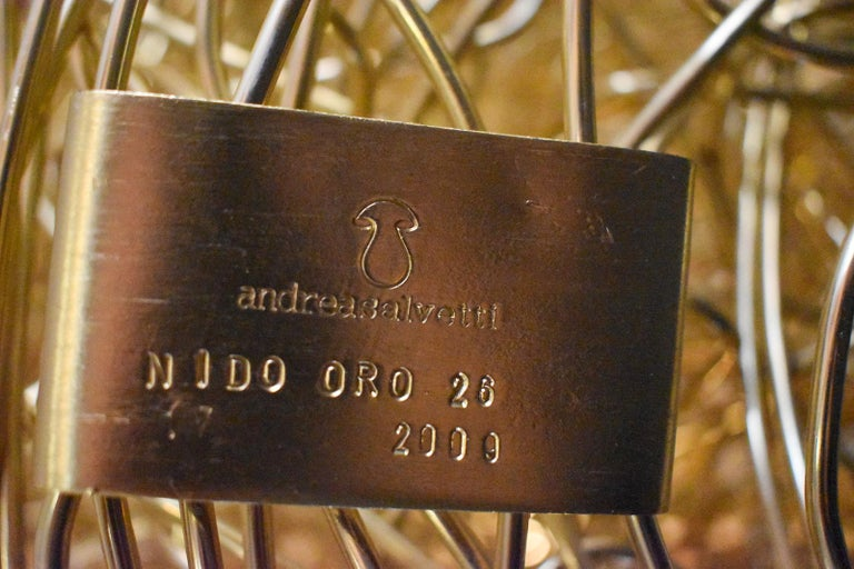 Modern Andrea Salvetti for Dilmos Armchair Gold Aluminium Cast Indoor Outdoor For Sale 2