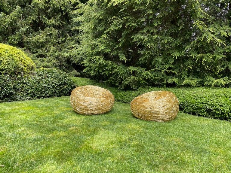 Modern Andrea Salvetti for Dilmos Armchair Gold Aluminium Cast Indoor Outdoor For Sale 3
