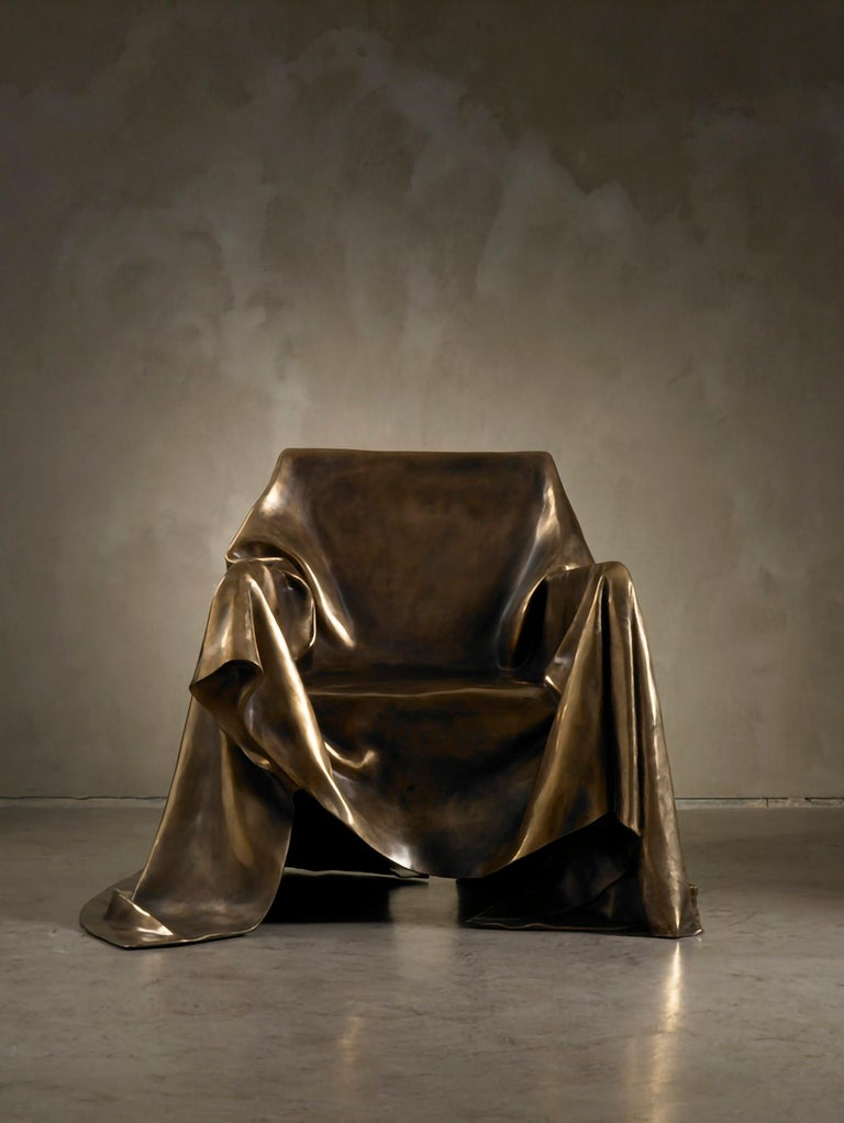 Extraordinary armchair in a limited edition of 9 pieces made in lost wax-casting in bronze for Dilmos Milano. The artist Andrea Salvetti was inspired by the posture of the Madonna holding Christ in the famous Pietà sculpture of Michelangelo in Rome.