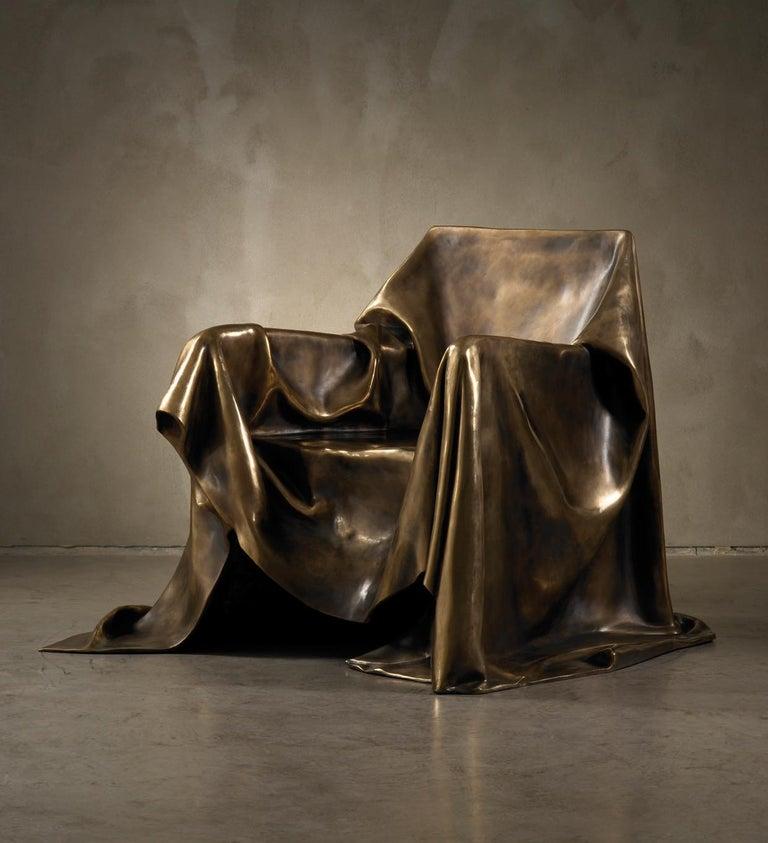 Italian Modern Andrea Salvetti for Dilmos Limited EditionArmchair Sculpture Bronze Cast  For Sale