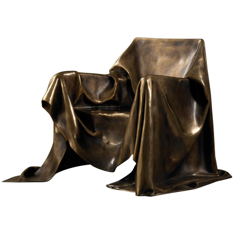 Modern Andrea Salvetti for Dilmos Limited EditionArmchair Sculpture Bronze Cast  For Sale
