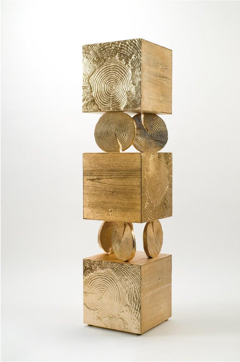Modern Andrea Salvetti for Dilmos Cabinet Sculpture Storage Aluminium Gold Cast For Sale 2