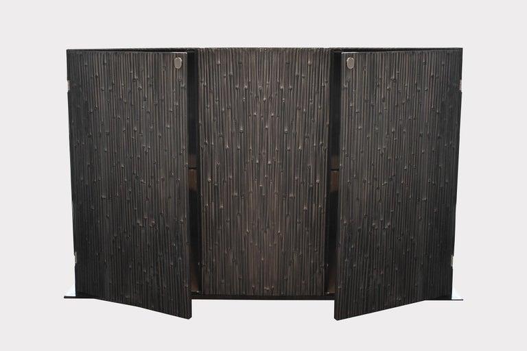 Italian Modern Andrea Salvetti for Dilmos Reed Cabinet Storage Cast Aluminium Black For Sale