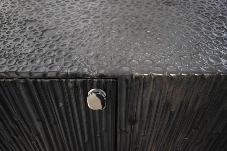 Contemporary Modern Andrea Salvetti for Dilmos Reed Cabinet Storage Cast Aluminium Black For Sale