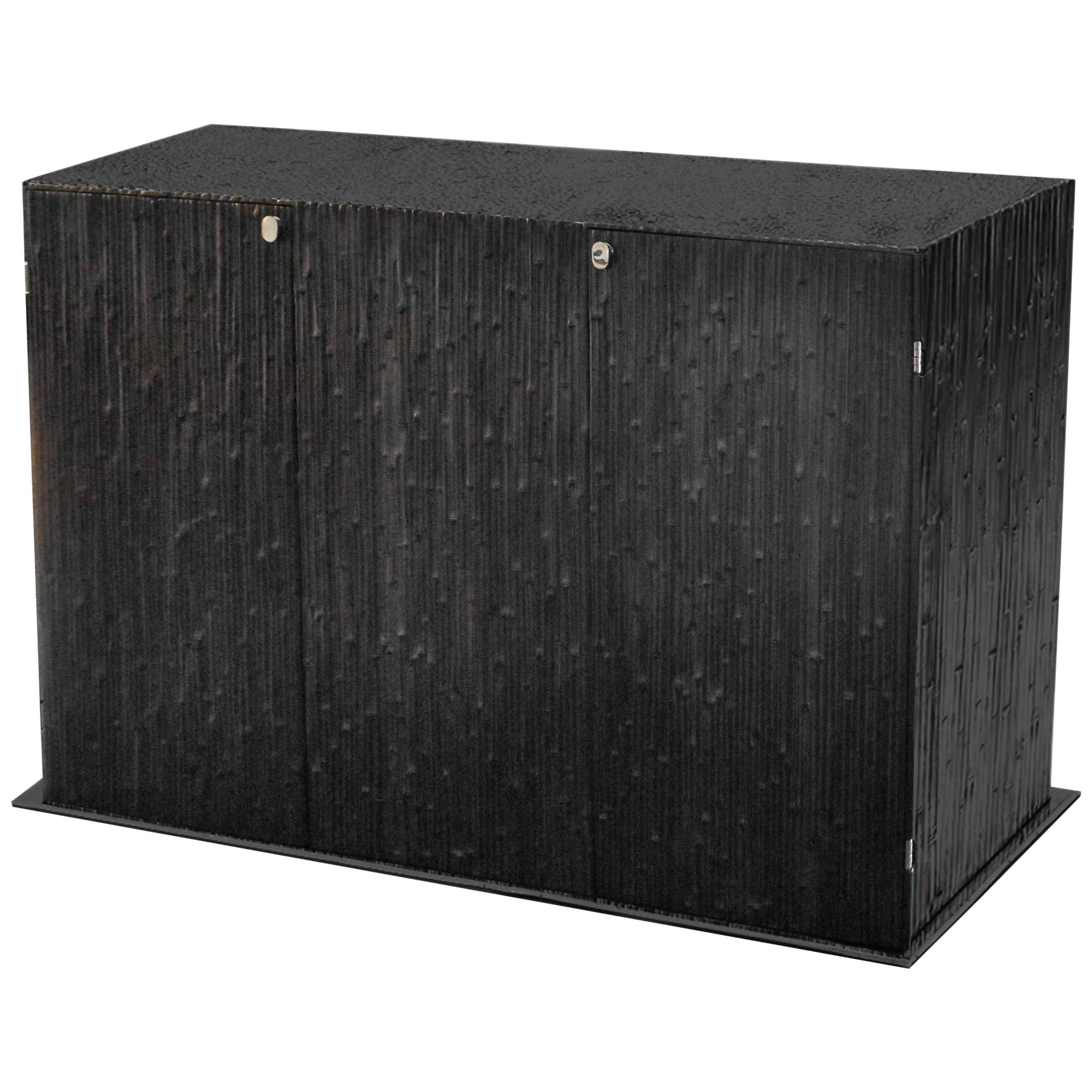 Modern Andrea Salvetti for Dilmos Reed Cabinet Storage Cast Aluminium Black