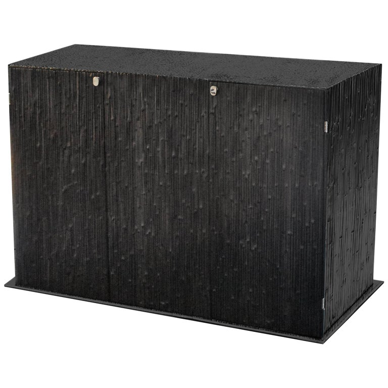 Modern Andrea Salvetti for Dilmos Reed Cabinet Storage Cast Aluminium Black For Sale