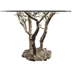 Modern Andrea Salvetti for Dilmos Round Dining Table Aluminium Cast Silver Glass