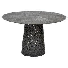 Modern Andrea Salvetti Dilmos Round Dining Table Black Aluminium Cast Outdoor