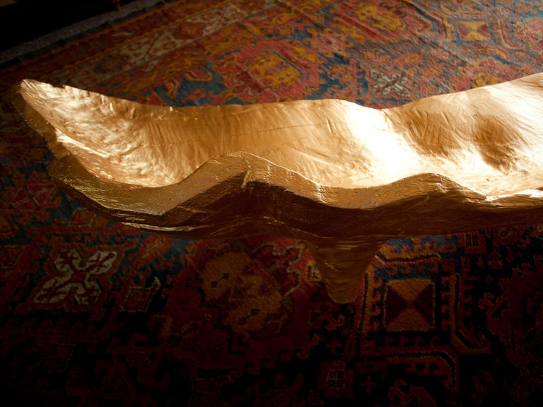 Contemporary Modern Andrea Salvetti for Dilmos Sofa Lounge Chair Sulpture Handmade Gold Leaf  For Sale