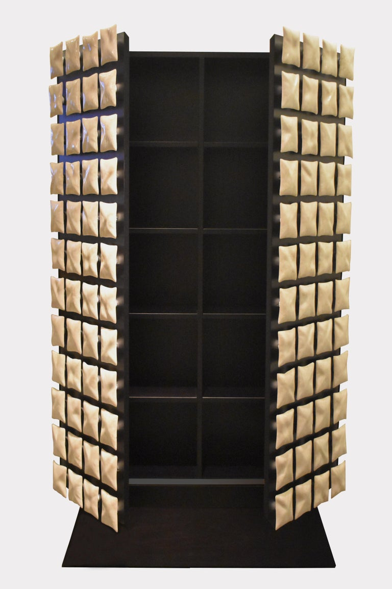 Modern Annibale Oste for Dilmos Cabinet Storage Resin Mother Pearl Effect In New Condition For Sale In Milan, IT