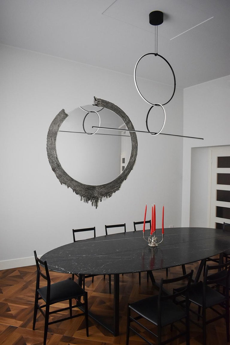 Modern Annibale Oste for Dilmos Cast Aluminium Round Wall Mirror For Sale 1