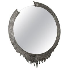 Modern Annibale Oste for Dilmos Cast Aluminium Round Wall Mirror
