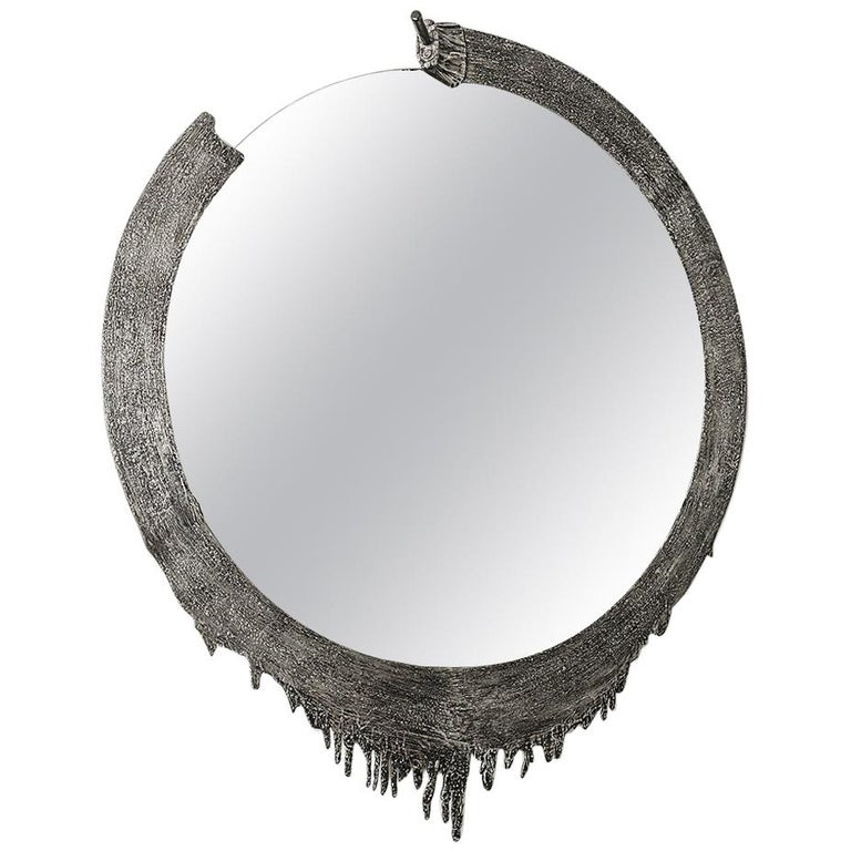 Modern Annibale Oste for Dilmos Cast Aluminium Round Wall Mirror For Sale