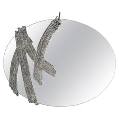 Modern Annibale Oste for Dilmos Cast Aluminum Oval Wall Mirror