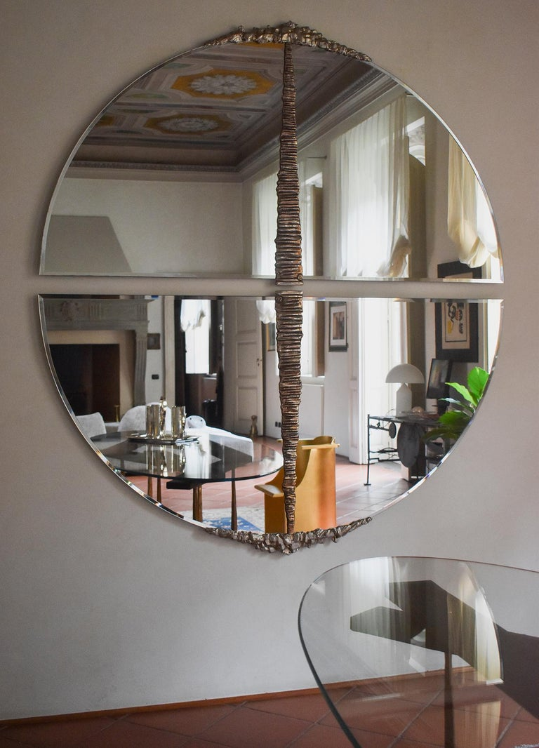 Modern Annibale Oste for Dilmos Round Mirror Chromed Bronze Cast For Sale 2