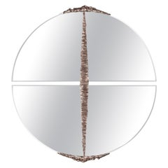 Modern Annibale Oste for Dilmos Round Mirror Chromed Bronze Cast