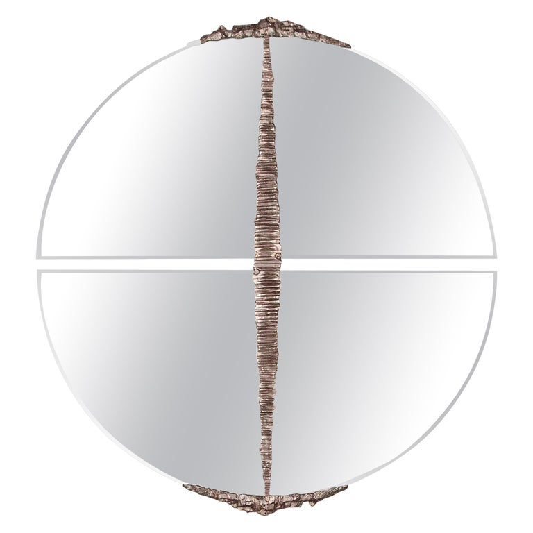 Modern Annibale Oste for Dilmos Round Mirror Chromed Bronze Cast For Sale