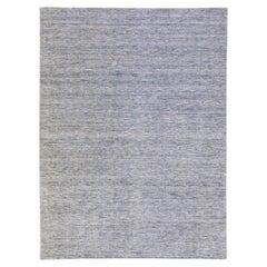 Modern Apadana's Groove Bamboo/Silk Handmade Blue Rug
