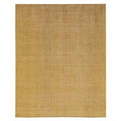 Modern Apadana's Groove Bamboo/Silk Handmade Goldenrod Rug