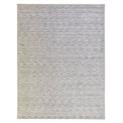 Modern Apadana's Groove Bamboo/Silk Handmade Gray Rug
