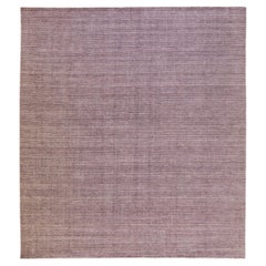 Modern Apadana's Groove Bamboo/Silk Handmade Purple Rug