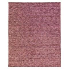 Modern Apadana's Groove Bamboo/Silk Handmade Red Rug