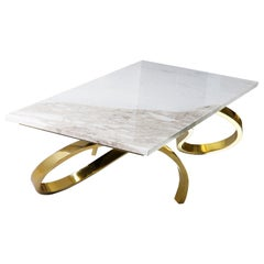 Modern Apate Coffee Table in Marble, Brass, Copper
