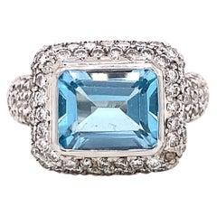 Modern Aquamarine Diamond 18 Karat White Gold Micropave Ring