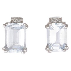 Modern Aquamarine Diamond Stud Earrings