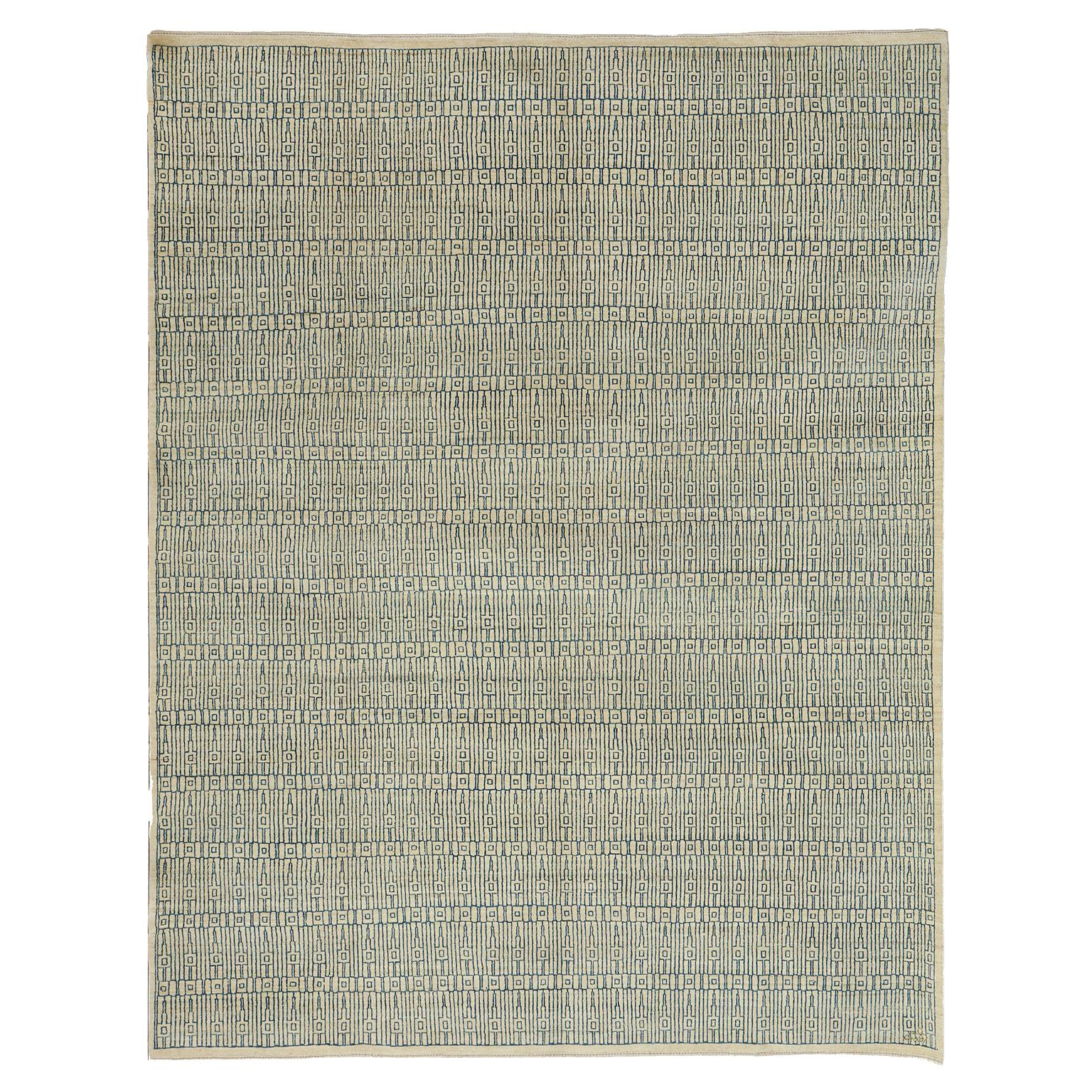 Modern Architectural Blue and Cream Pure Wool Area Rug by Orley Shabahang