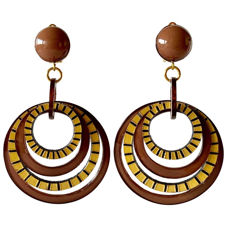 Modern Architectural Brown Hoop Statement Earrings For Sale