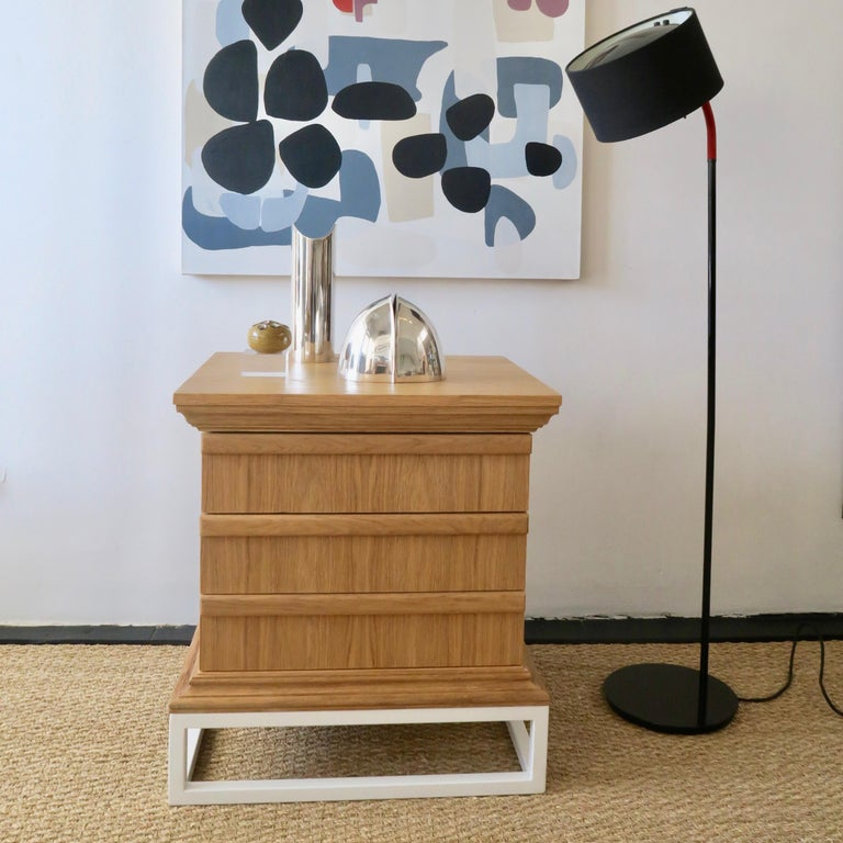 American Modern Architectural Night Stand in Oak Metal Stand Brown by Martin and Brockett For Sale