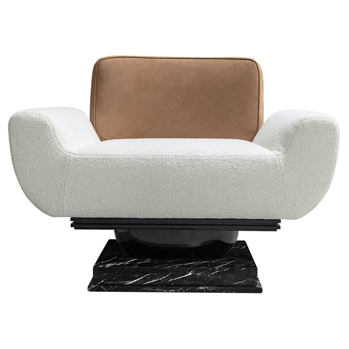 21th Century Modern Armchair Bouclé, Leather Upholstered & Nero Marquina Marble