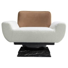 Modern Armchair Bouclé and Leather Upholstered with Nero Marquina Marble Base