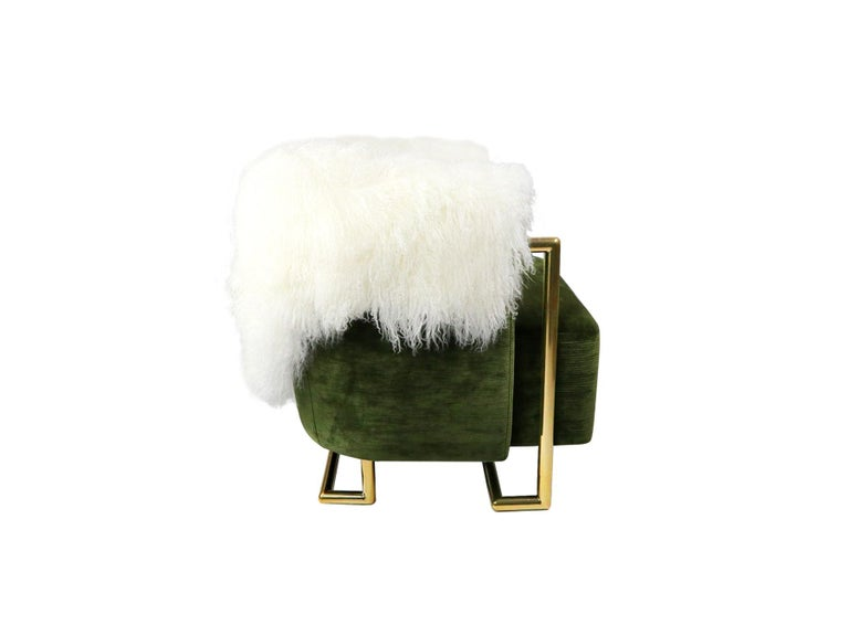 21th Century Modern Green Velvet Armchair Back in Fur, Gold Stainless Steel Legs   Max Armchair Max Armchair is a mid-century style armchair. This armchair brings details from the old days to contemporary design. Its shape and exquisite materials