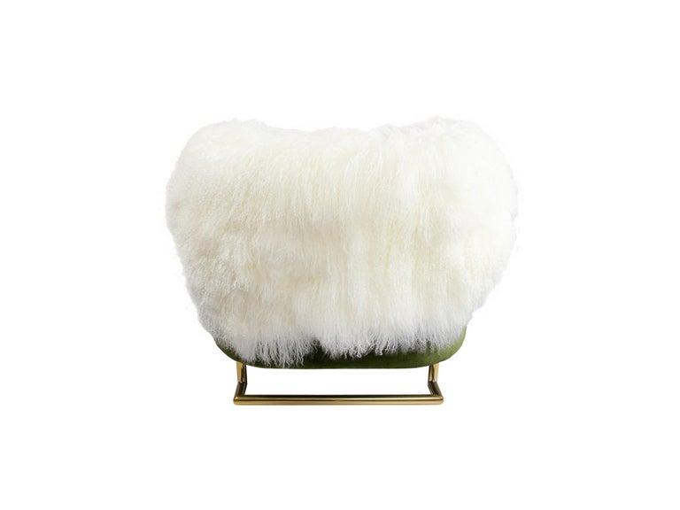 Portuguese 21th Century Modern Green Velvet Armchair Back in Fur, Gold Stainless Steel Legs For Sale