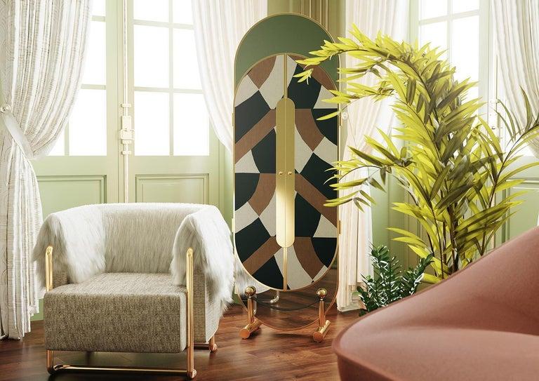 Contemporary 21th Century Modern Green Velvet Armchair Back in Fur, Gold Stainless Steel Legs For Sale
