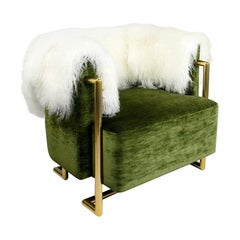 Modern Armchair in Green Velvet & Back in Fur Gold Stainless Steel Legs