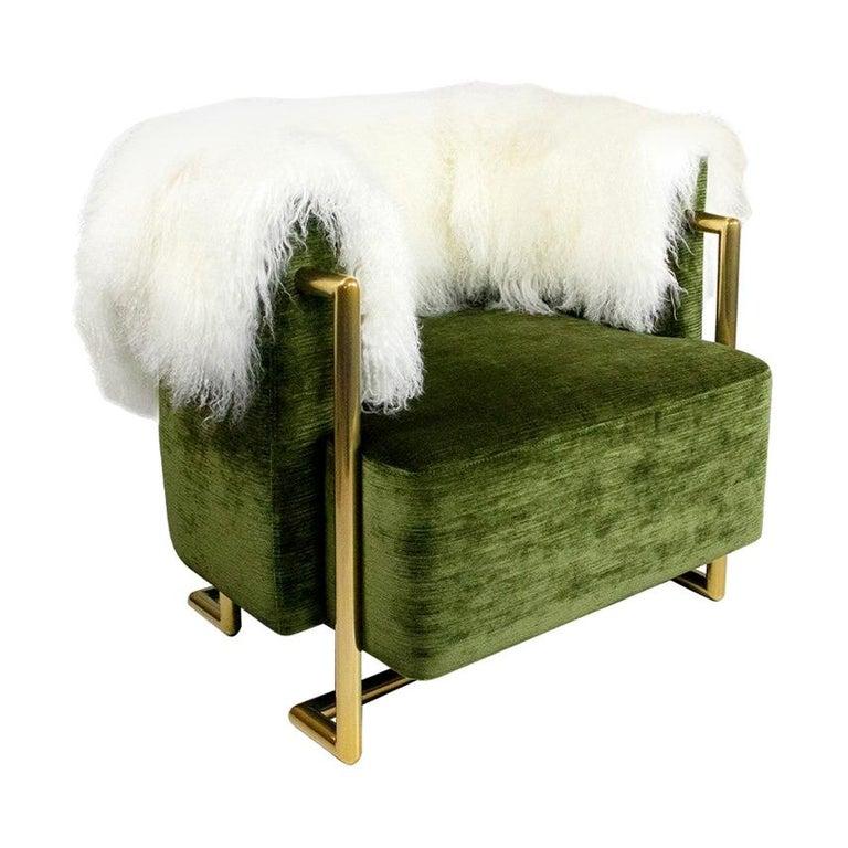 21th Century Modern Green Velvet Armchair Back in Fur, Gold Stainless Steel Legs For Sale