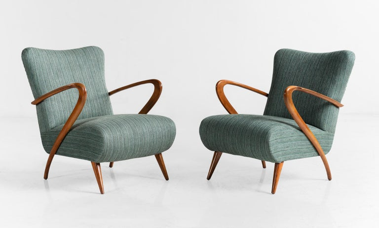 Modern armchairs, Italy, circa 1950.  Incredibly elegant forms with original upholstery in fantastic condition.