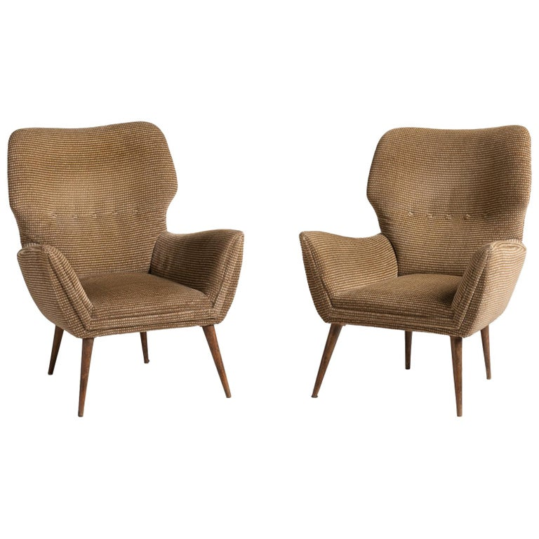 Modern Armchairs, Italy, circa 1950 For Sale